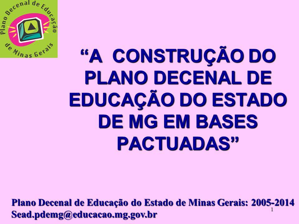 1 A CONSTRUÇÃO DO PLANO DECENAL DE EDUCAÇÃO DO ESTADO DE MG EM BASES PACTUADAS Plano Decenal de Educação do Estado de Minas Gerais: 2005-2014 Sead.pdemg@educacao.mg.gov.br