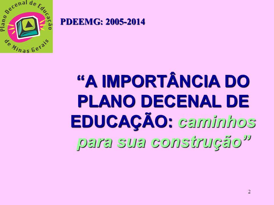 2 A IMPORTÂNCIA DO PLANO DECENAL DE EDUCAÇÃO: caminhos para sua construção PDEEMG: 2005-2014