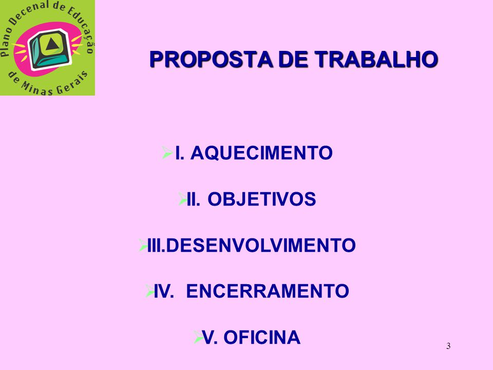 3 PROPOSTA DE TRABALHO  I.AQUECIMENTO  II. OBJETIVOS  III.DESENVOLVIMENTO  IV.