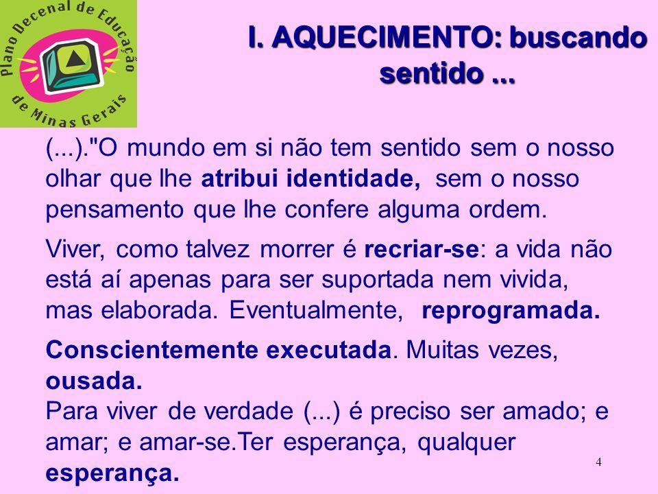 3 PROPOSTA DE TRABALHO  I. AQUECIMENTO  II. OBJETIVOS  III.DESENVOLVIMENTO  IV. ENCERRAMENTO  V. OFICINA