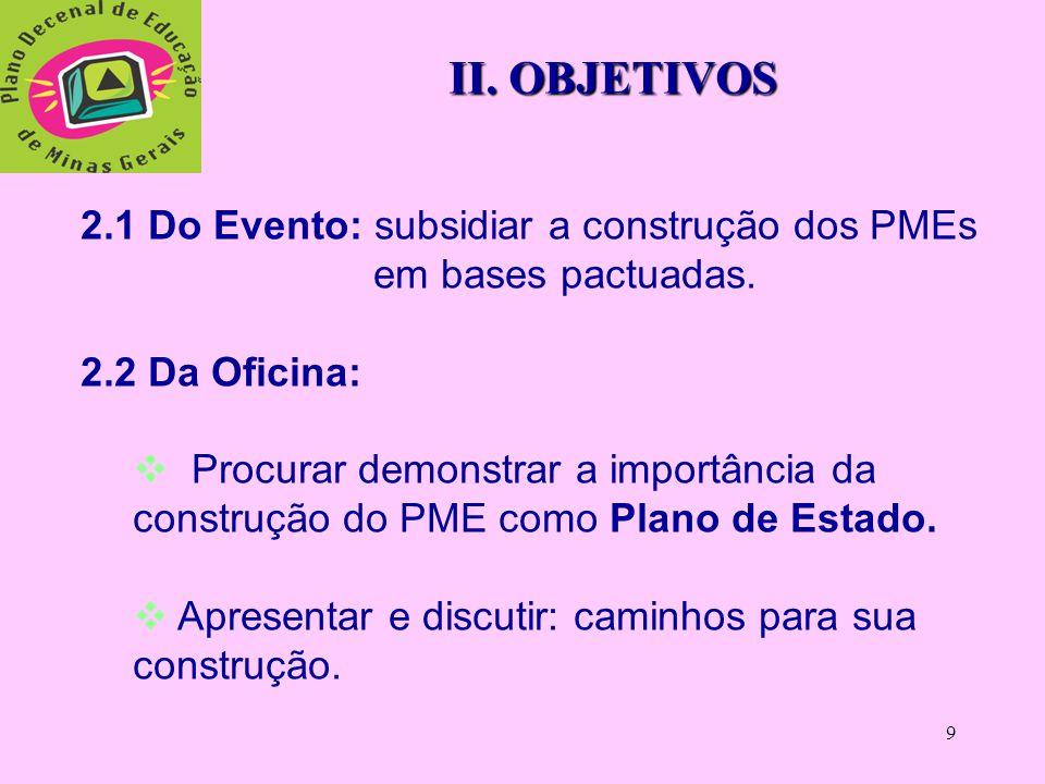 9 II.OBJETIVOS 2.1 Do Evento: subsidiar a construção dos PMEs em bases pactuadas.
