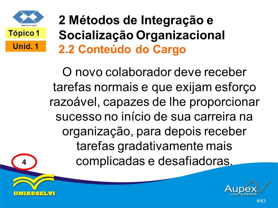 2 Métodos de Integração e Socialização Organizacional 2.2 Conteúdo do Cargo O novo colaborador deve receber tarefas normais e que exijam esforço razoá