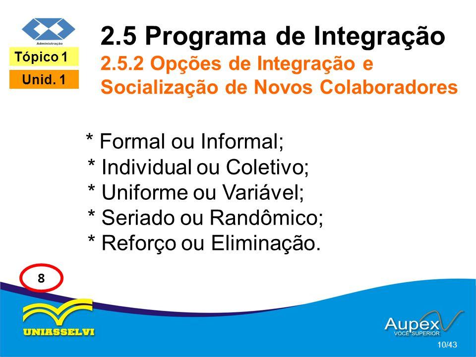2.5 Programa de Integração 2.5.2 Opções de Integração e Socialização de Novos Colaboradores * Formal ou Informal; * Individual ou Coletivo; * Uniforme