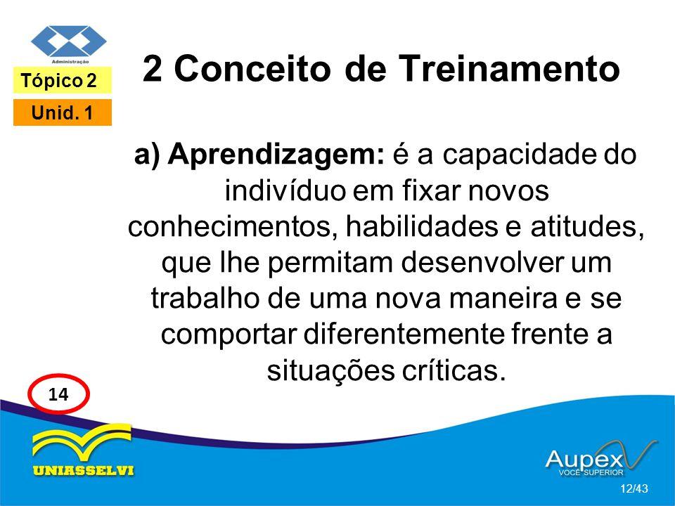 2 Conceito de Treinamento a) Aprendizagem: é a capacidade do indivíduo em fixar novos conhecimentos, habilidades e atitudes, que lhe permitam desenvol