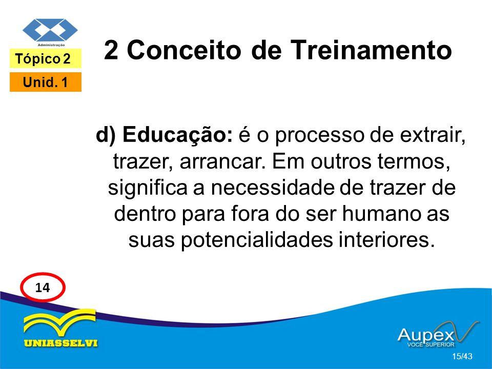 2 Conceito de Treinamento d) Educação: é o processo de extrair, trazer, arrancar. Em outros termos, significa a necessidade de trazer de dentro para f