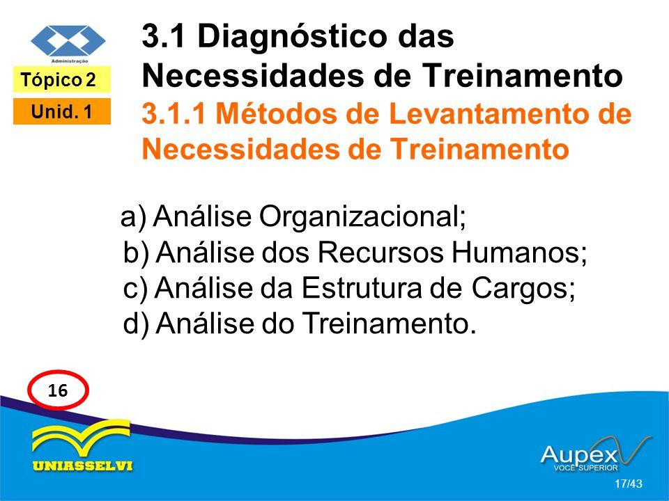 3.1 Diagnóstico das Necessidades de Treinamento 3.1.1 Métodos de Levantamento de Necessidades de Treinamento a) Análise Organizacional; b) Análise dos