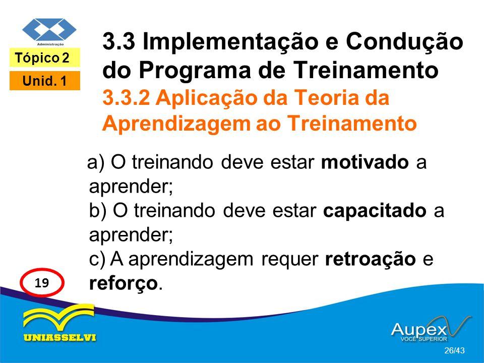 3.3 Implementação e Condução do Programa de Treinamento 3.3.2 Aplicação da Teoria da Aprendizagem ao Treinamento a) O treinando deve estar motivado a