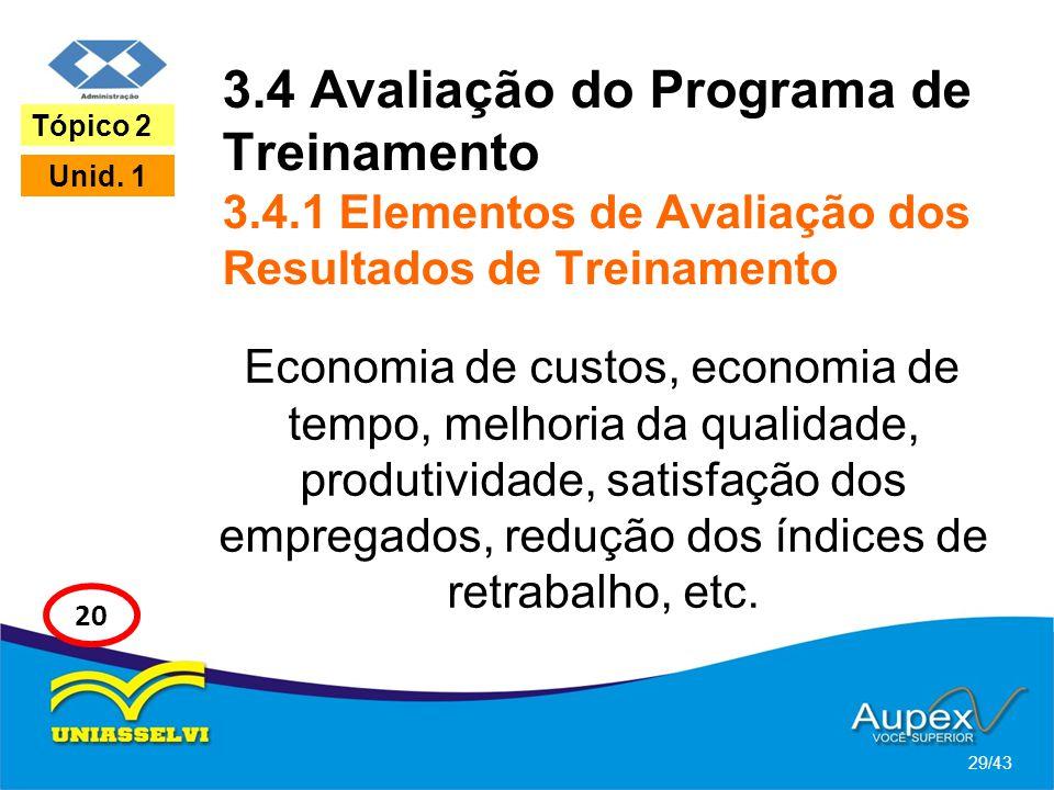 3.4 Avaliação do Programa de Treinamento 3.4.1 Elementos de Avaliação dos Resultados de Treinamento Economia de custos, economia de tempo, melhoria da