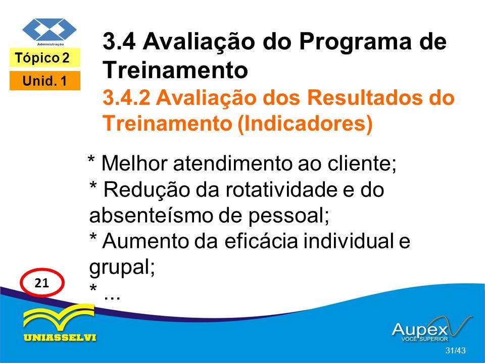 3.4 Avaliação do Programa de Treinamento 3.4.2 Avaliação dos Resultados do Treinamento (Indicadores) * Melhor atendimento ao cliente; * Redução da rot