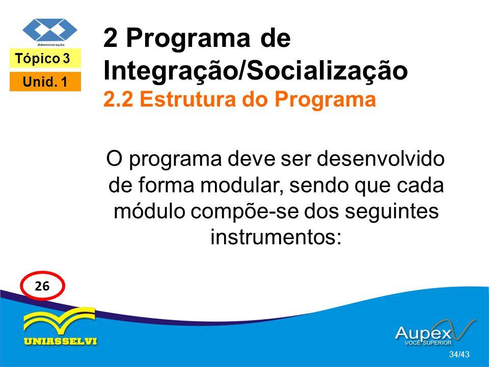 2 Programa de Integração/Socialização 2.2 Estrutura do Programa O programa deve ser desenvolvido de forma modular, sendo que cada módulo compõe-se dos