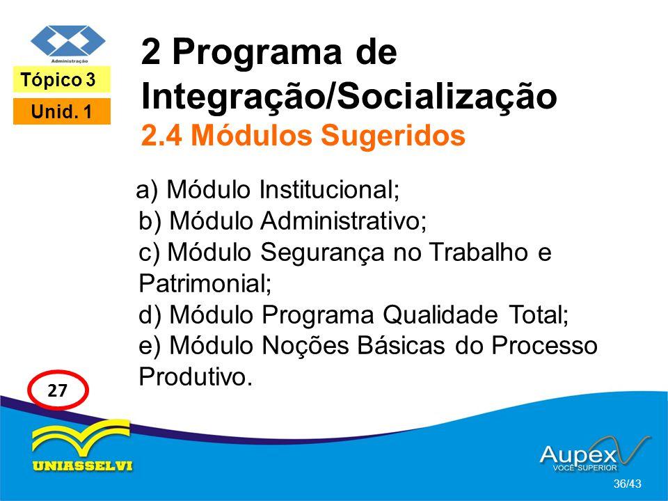 2 Programa de Integração/Socialização 2.4 Módulos Sugeridos a) Módulo Institucional; b) Módulo Administrativo; c) Módulo Segurança no Trabalho e Patri