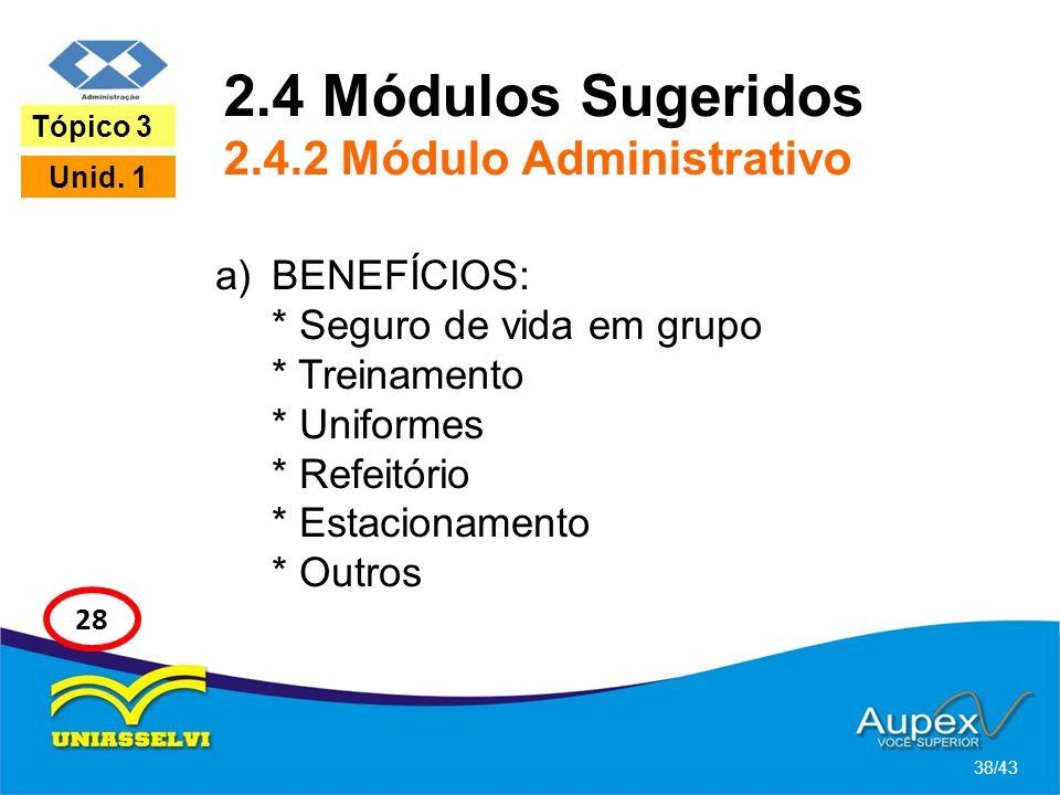 2.4 Módulos Sugeridos 2.4.2 Módulo Administrativo a)BENEFÍCIOS: * Seguro de vida em grupo * Treinamento * Uniformes * Refeitório * Estacionamento * Ou