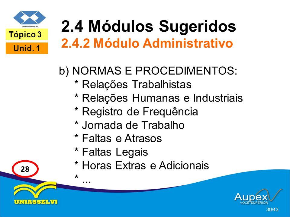 2.4 Módulos Sugeridos 2.4.2 Módulo Administrativo b) NORMAS E PROCEDIMENTOS: * Relações Trabalhistas * Relações Humanas e Industriais * Registro de Fr
