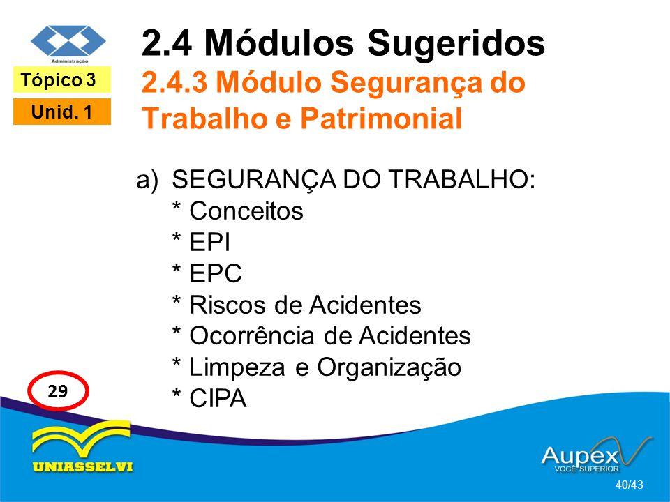 2.4 Módulos Sugeridos 2.4.3 Módulo Segurança do Trabalho e Patrimonial a)SEGURANÇA DO TRABALHO: * Conceitos * EPI * EPC * Riscos de Acidentes * Ocorrê