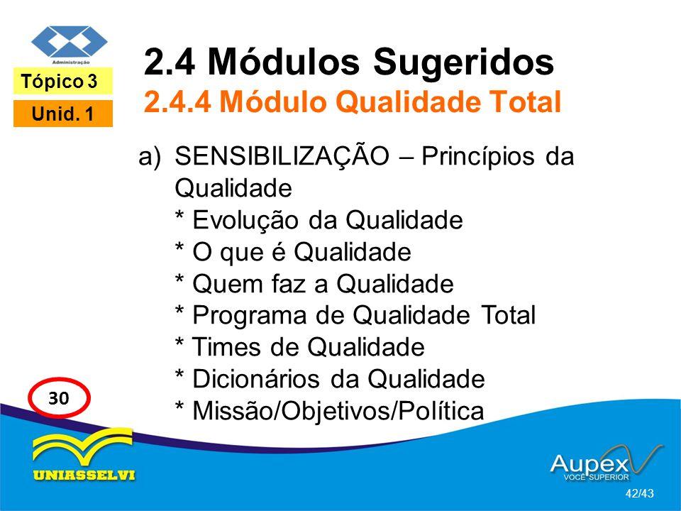 2.4 Módulos Sugeridos 2.4.4 Módulo Qualidade Total a)SENSIBILIZAÇÃO – Princípios da Qualidade * Evolução da Qualidade * O que é Qualidade * Quem faz a