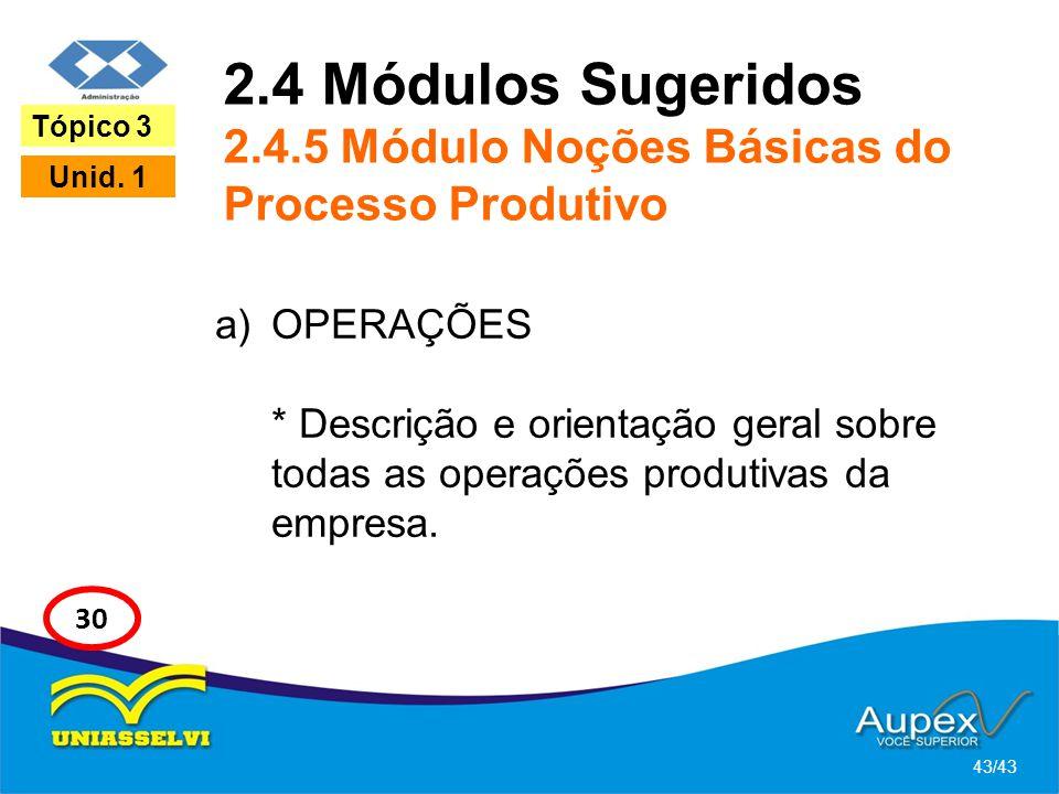 2.4 Módulos Sugeridos 2.4.5 Módulo Noções Básicas do Processo Produtivo a)OPERAÇÕES * Descrição e orientação geral sobre todas as operações produtivas