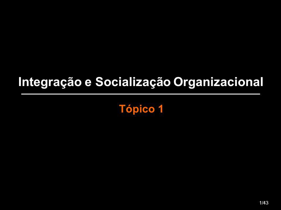 Integração e Socialização Organizacional Tópico 1 1/43