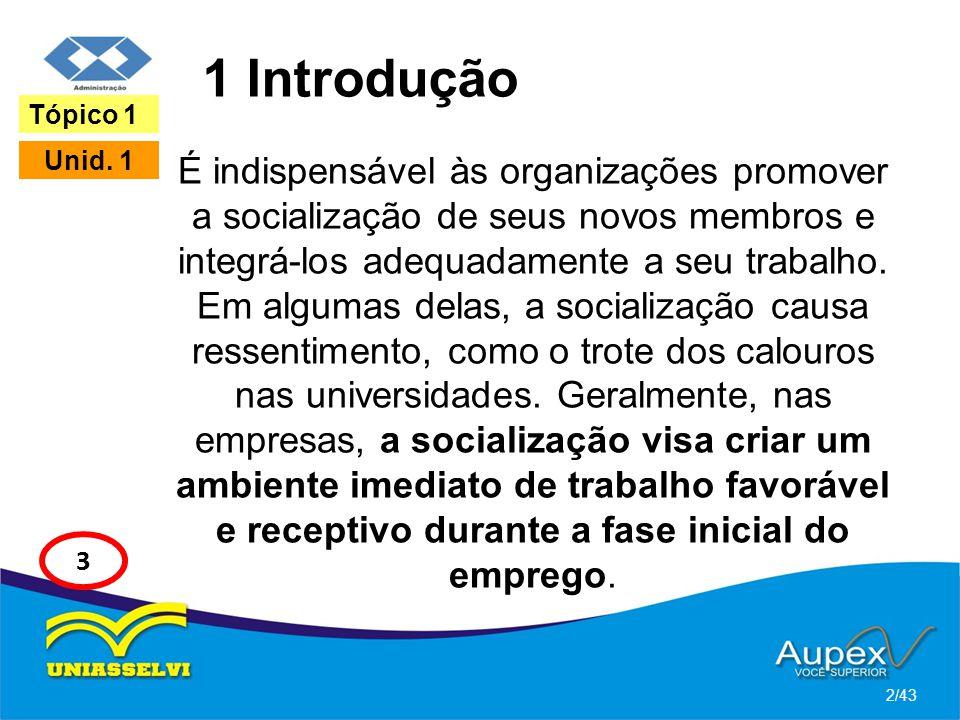 1 Introdução É indispensável às organizações promover a socialização de seus novos membros e integrá-los adequadamente a seu trabalho. Em algumas dela