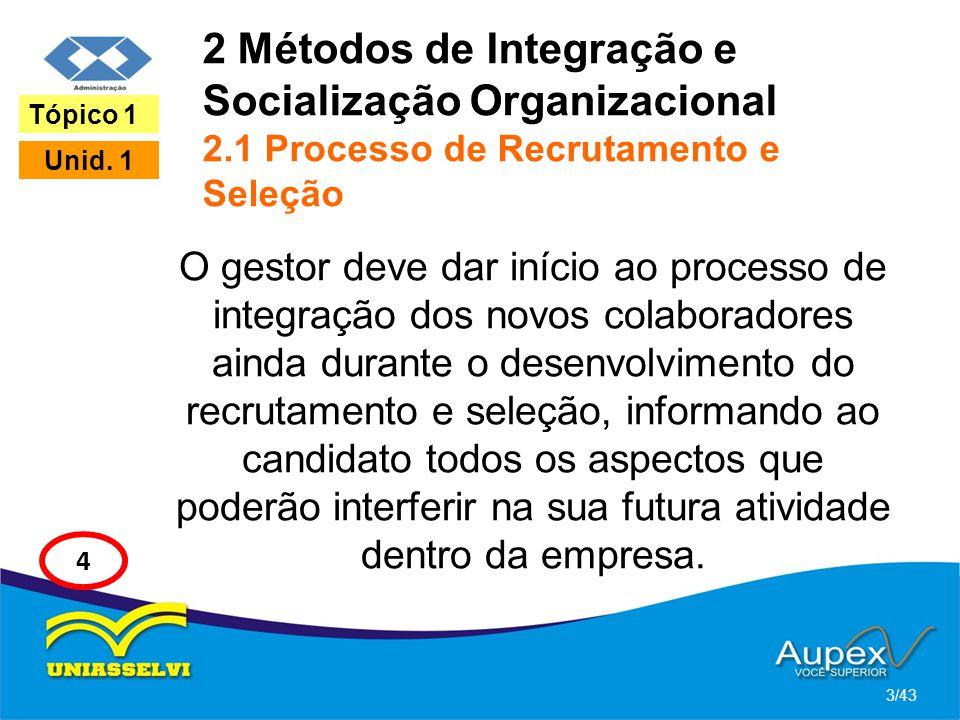2 Métodos de Integração e Socialização Organizacional 2.1 Processo de Recrutamento e Seleção O gestor deve dar início ao processo de integração dos no