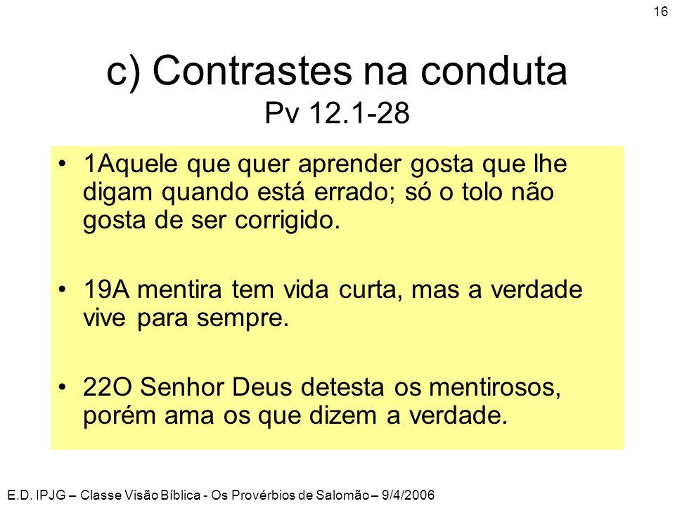 E.D. IPJG – Classe Visão Bíblica - Os Provérbios de Salomão – 9/4/2006 16 c) Contrastes na conduta Pv 12.1-28 •1Aquele que quer aprender gosta que lhe