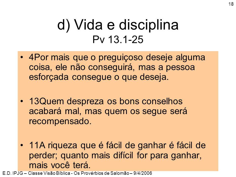 E.D. IPJG – Classe Visão Bíblica - Os Provérbios de Salomão – 9/4/2006 18 •4Por mais que o preguiçoso deseje alguma coisa, ele não conseguirá, mas a p
