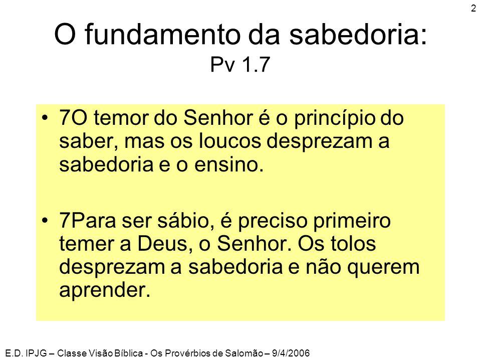 E.D. IPJG – Classe Visão Bíblica - Os Provérbios de Salomão – 9/4/2006 2 O fundamento da sabedoria: Pv 1.7 •7O temor do Senhor é o princípio do saber,