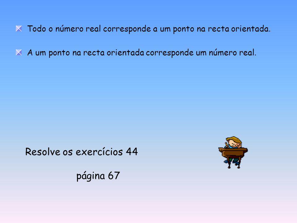 Todo o número real corresponde a um ponto na recta orientada. A um ponto na recta orientada corresponde um número real. Resolve os exercícios 44 págin