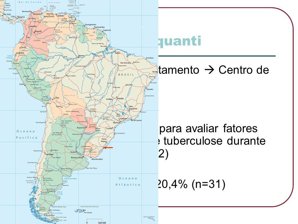 Estudo quanti  Em Pelotas  1973 tratamento  Centro de Saúde  Estudo epidemiológico para avaliar fatores de risco e incidência de tuberculose duran