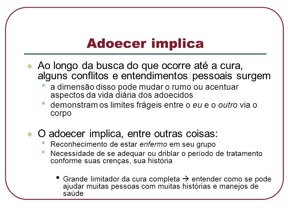 Adoecer implica  Ao longo da busca do que ocorre até a cura, alguns conflitos e entendimentos pessoais surgem • a dimensão disso pode mudar o rumo ou