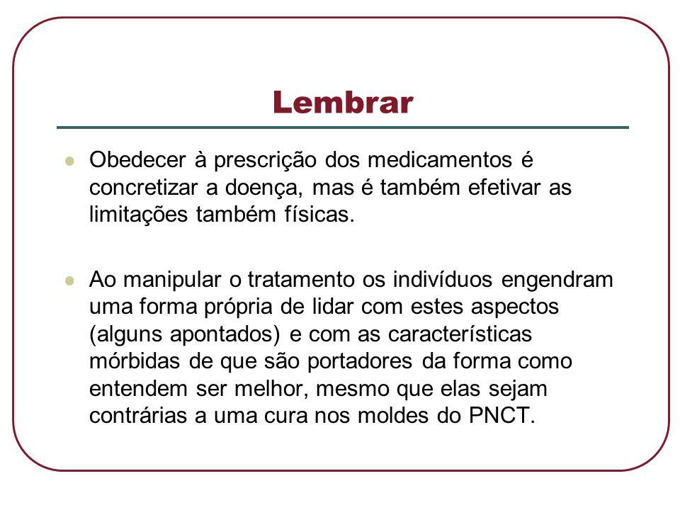 Lembrar  Obedecer à prescrição dos medicamentos é concretizar a doença, mas é também efetivar as limitações também físicas.  Ao manipular o tratamen