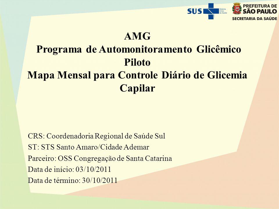 AMG Programa de Automonitoramento Glicêmico Piloto Mapa Mensal para Controle Diário de Glicemia Capilar CRS: Coordenadoria Regional de Saúde Sul ST: S