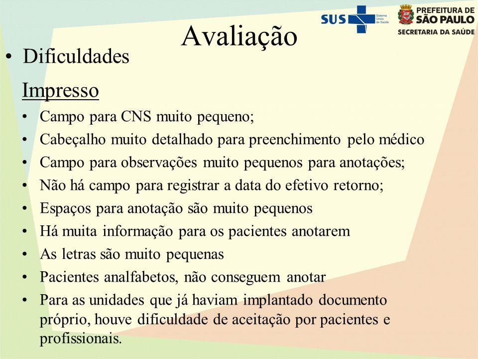 Avaliação Impresso •Campo para CNS muito pequeno; •Cabeçalho muito detalhado para preenchimento pelo médico •Campo para observações muito pequenos par