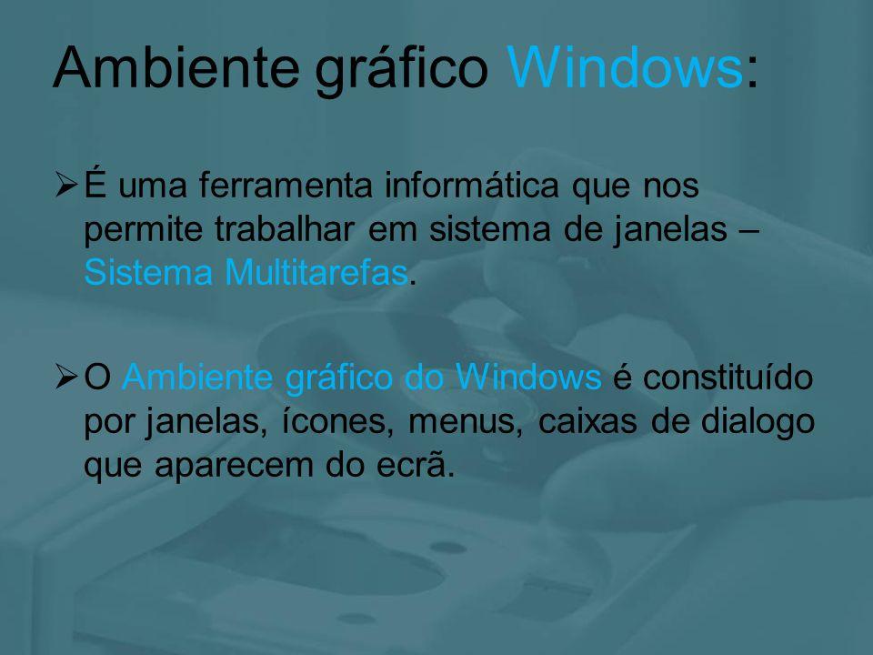 O ambiente de trabalho do Windows XP é uma área de trabalho no ecrã onde aparecem janelas, ícones, menus e caixas de diálogo A interacção com o utilizador surge sob a forma de uma interface gráfica AMBIENTE GRÁFICO Área de Trabalho Local onde se encontram os ícones Barra de Tarefas Contém alguns ícones de atalhos e de identificação de programas activos Ícones Símbolos de programas e atalhos de acesso rápido a ficheiros, pastas e programas