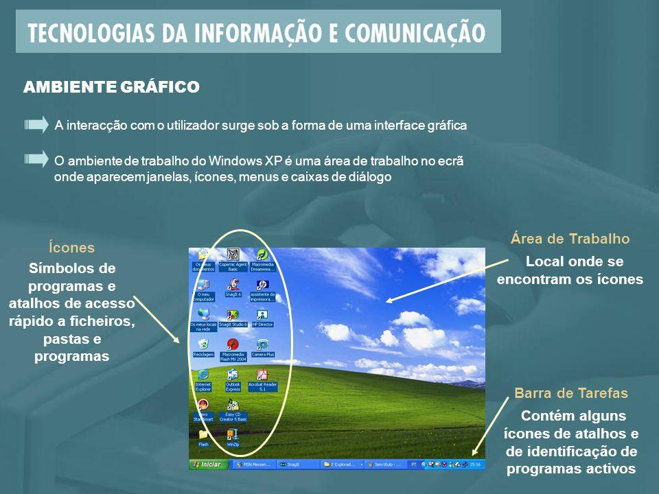 O ambiente de trabalho do Windows XP é uma área de trabalho no ecrã onde aparecem janelas, ícones, menus e caixas de diálogo A interacção com o utiliz