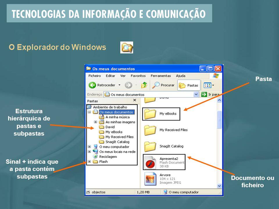 O Explorador do Windows Estrutura hierárquica de pastas e subpastas Pasta Documento ou ficheiro Sinal + indica que a pasta contém subpastas