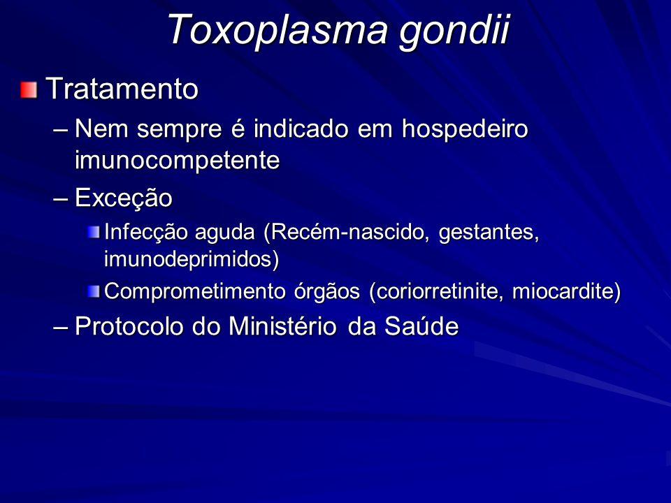 Toxoplasma gondii Tratamento –Nem sempre é indicado em hospedeiro imunocompetente –Exceção Infecção aguda (Recém-nascido, gestantes, imunodeprimidos)