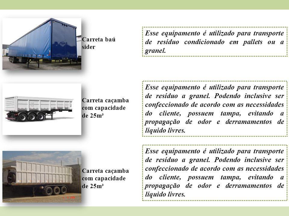 Carreta baú sider Esse equipamento é utilizado para transporte de resíduo condicionado em pallets ou a granel. Carreta caçamba com capacidade de 25m³