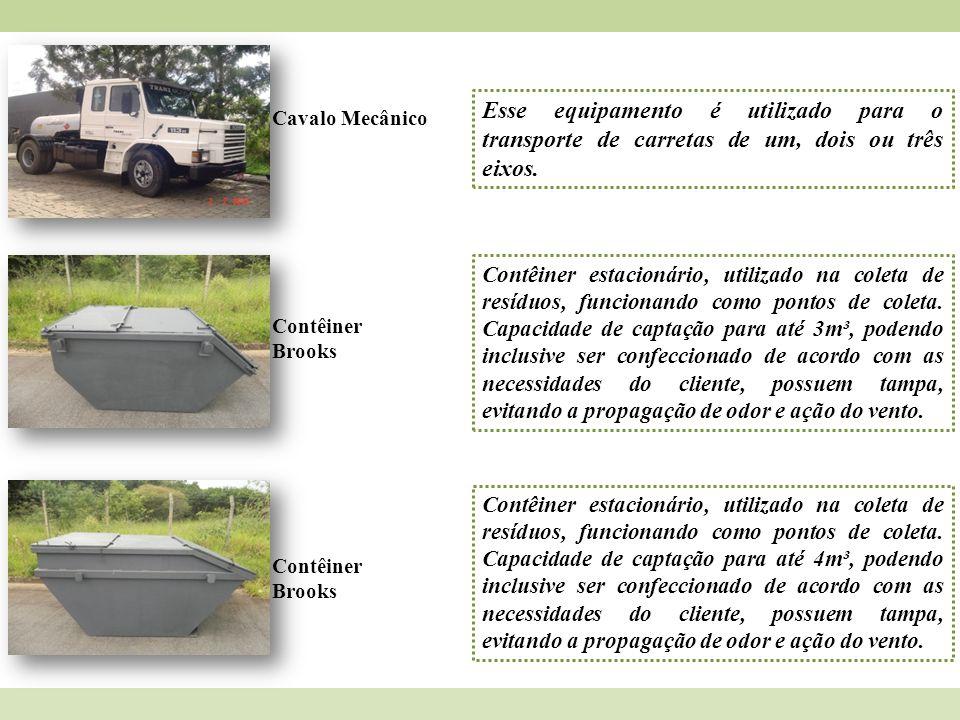 Cavalo Mecânico Esse equipamento é utilizado para o transporte de carretas de um, dois ou três eixos. Contêiner Brooks Contêiner estacionário, utiliza