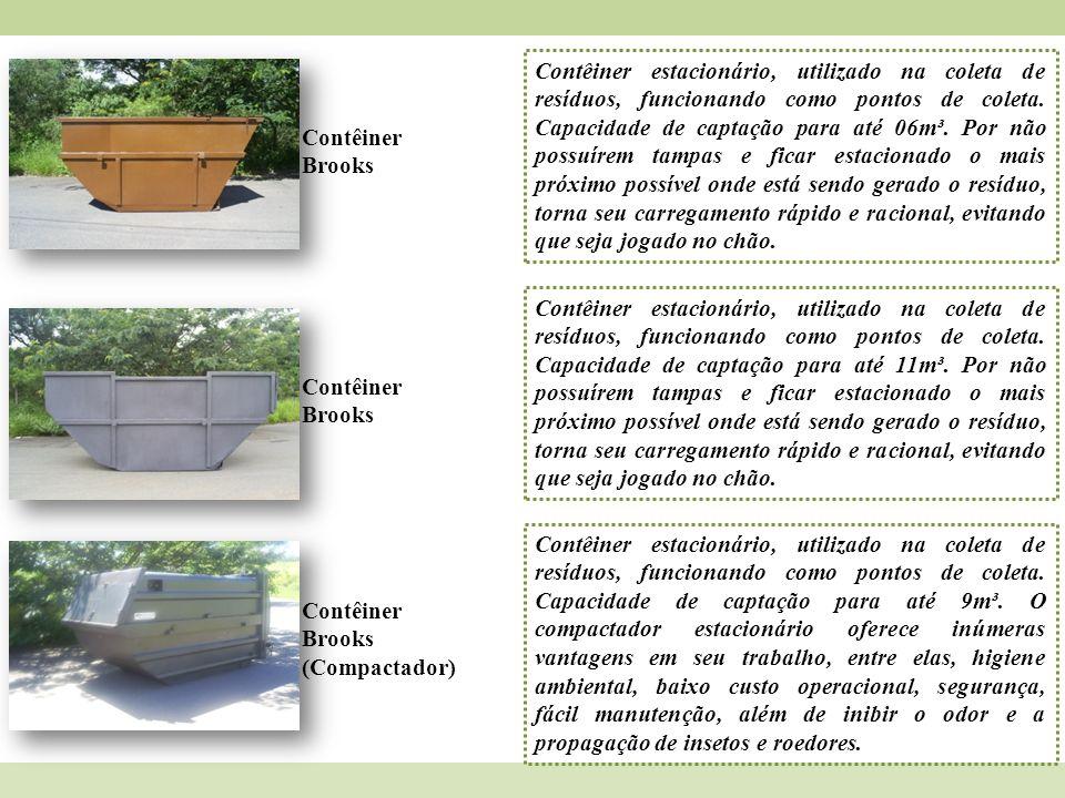 Contêiner Brooks Contêiner estacionário, utilizado na coleta de resíduos, funcionando como pontos de coleta. Capacidade de captação para até 06m³. Por