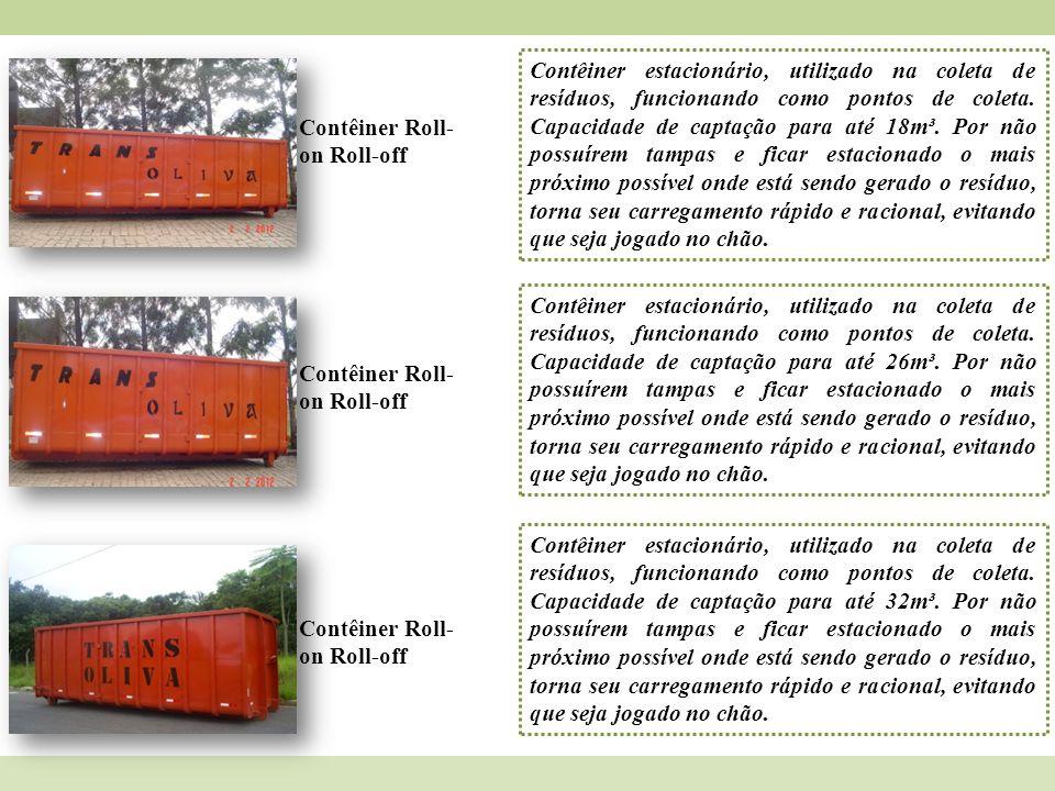 Contêiner Roll- on Roll-off Contêiner estacionário, utilizado na coleta de resíduos, funcionando como pontos de coleta. Capacidade de captação para at