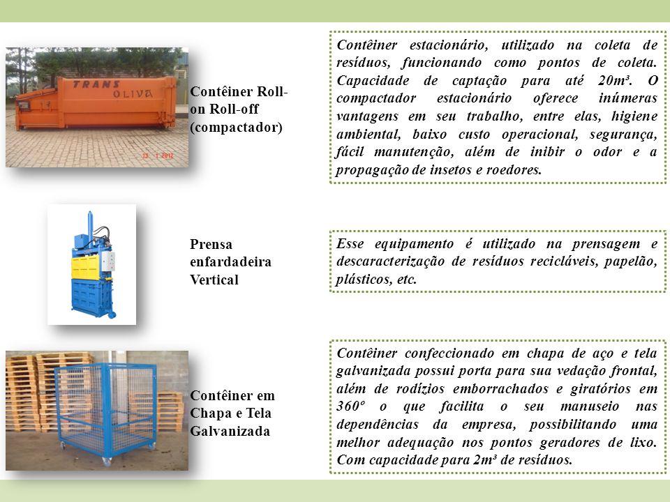 Contêiner Roll- on Roll-off (compactador) Contêiner estacionário, utilizado na coleta de resíduos, funcionando como pontos de coleta. Capacidade de ca