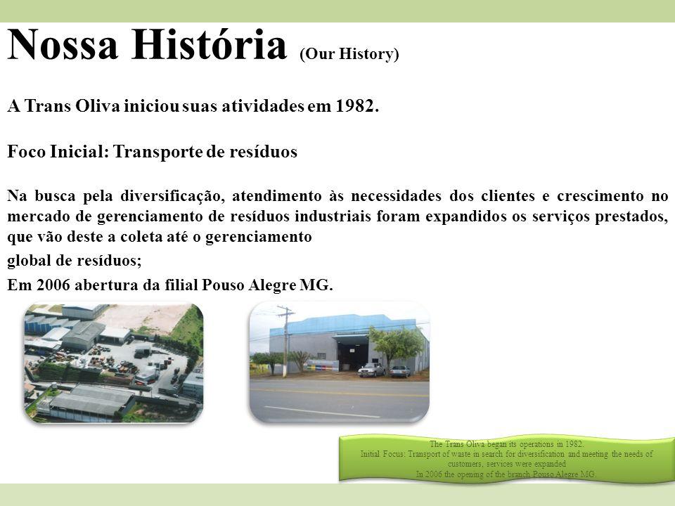 Nossa História (Our History) A Trans Oliva iniciou suas atividades em 1982. Foco Inicial: Transporte de resíduos Na busca pela diversificação, atendim