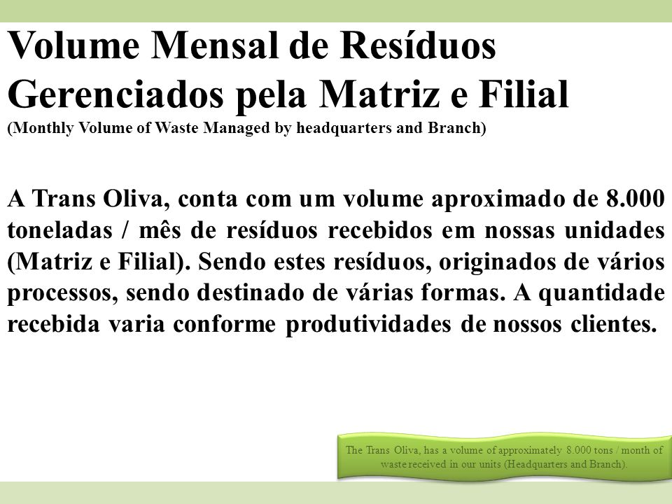Volume Mensal de Resíduos Gerenciados pela Matriz e Filial (Monthly Volume of Waste Managed by headquarters and Branch) A Trans Oliva, conta com um vo