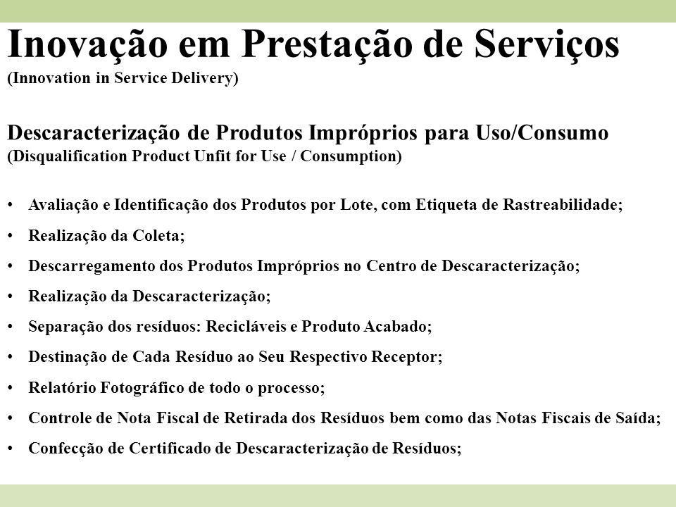 Inovação em Prestação de Serviços (Innovation in Service Delivery) Descaracterização de Produtos Impróprios para Uso/Consumo (Disqualification Product