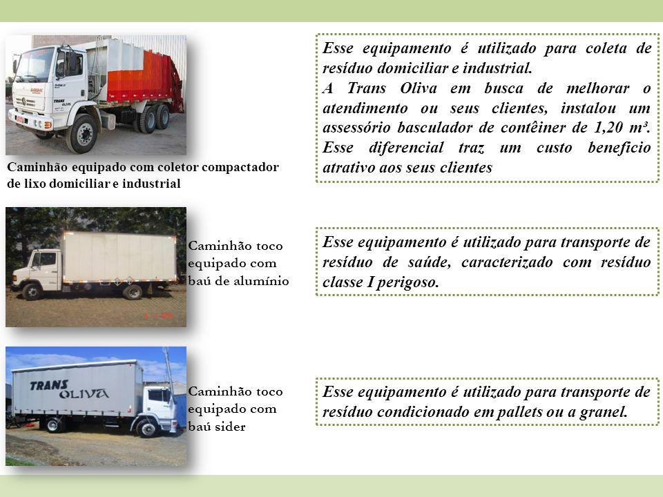 Caminhão equipado com coletor compactador de lixo domiciliar e industrial Esse equipamento é utilizado para coleta de resíduo domiciliar e industrial.