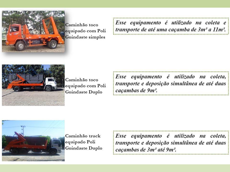 Caminhão toco equipado com Poli Guindaste simples Esse equipamento é utilizado na coleta e transporte de até uma caçamba de 3m³ a 11m³. Caminhão toco