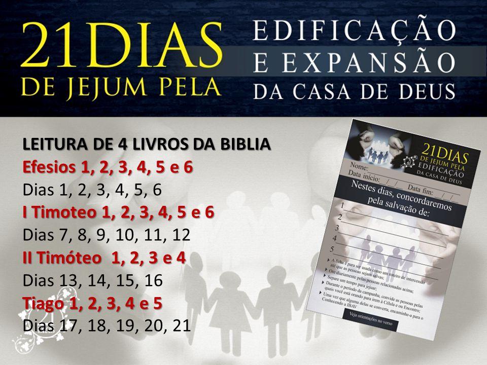 LEITURA DE 4 LIVROS DA BIBLIA Efesios 1, 2, 3, 4, 5 e 6 Dias 1, 2, 3, 4, 5, 6 I Timoteo 1, 2, 3, 4, 5 e 6 Dias 7, 8, 9, 10, 11, 12 II Timóteo 1, 2, 3