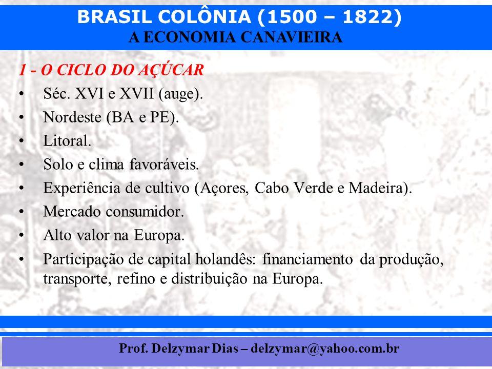 BRASIL COLÔNIA (1500 – 1822) Prof. Iair iair@pop.com.br A ECONOMIA CANAVIEIRA 1 - O CICLO DO AÇÚCAR •Séc. XVI e XVII (auge). •Nordeste (BA e PE). •Lit