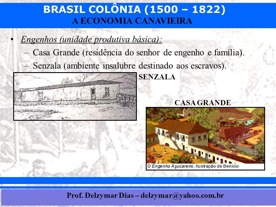 BRASIL COLÔNIA (1500 – 1822) Prof. Iair iair@pop.com.br A ECONOMIA CANAVIEIRA •Engenhos (unidade produtiva básica): –Casa Grande (residência do senhor