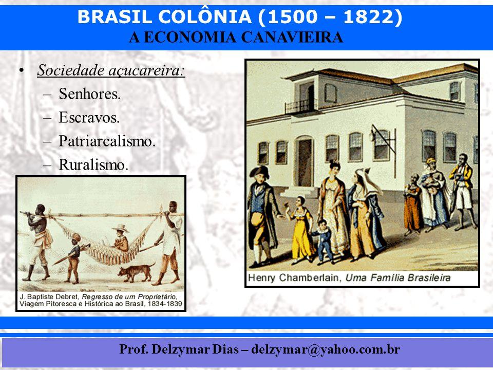 BRASIL COLÔNIA (1500 – 1822) Prof. Iair iair@pop.com.br A ECONOMIA CANAVIEIRA •Sociedade açucareira: –Senhores. –Escravos. –Patriarcalismo. –Ruralismo